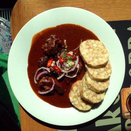 Potrefena Husa Albertov: Beef chilli goulash - beautifully tender and perfectly seasoned.