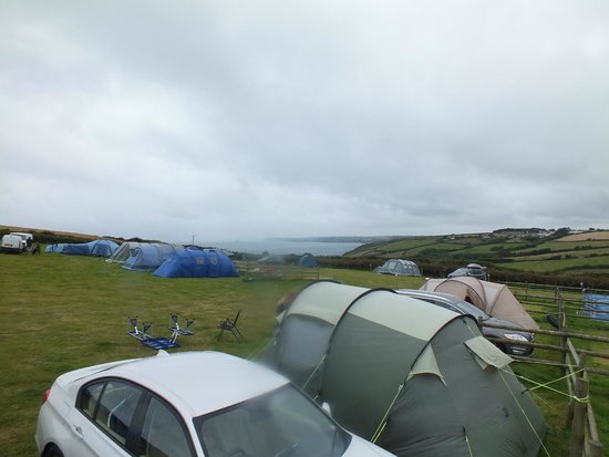Treveague Farm Cottages: The field we were in overlooking the coastline