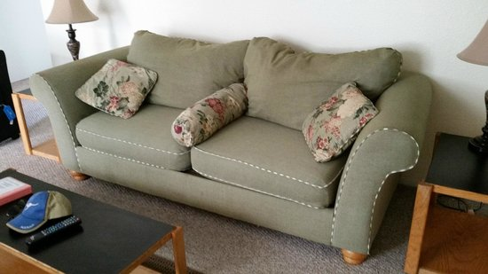 Anchorage Uptown Suites: very worn & smelly couch