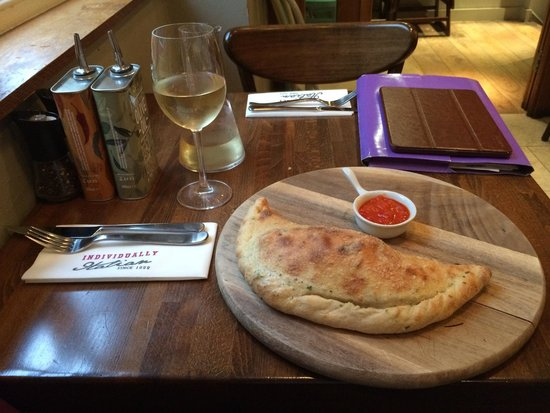 Zizzi - Norwich: My calzone; beautifully presented, but a little bland.
