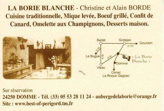 Coordonnées de La Borie Blanche