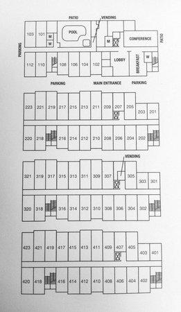 Brookstone Lodge: Hotel Layout - (Room sizes)