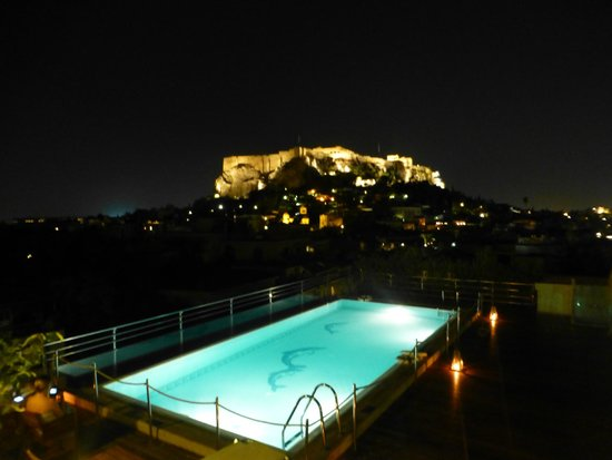 Electra Palace Athens: View of the Acropolis from Pool Terrace at night