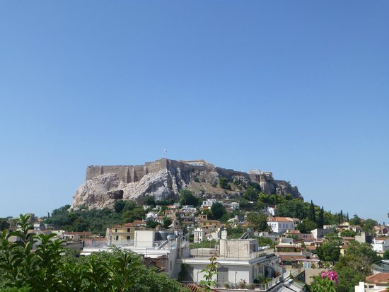 Electra Palace Athens: View of the Acropolis from Pool Terrace during the day