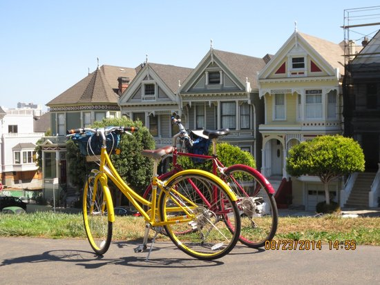 Streets of San Francisco Bike Tours: Our bikes and the Painted Ladies.