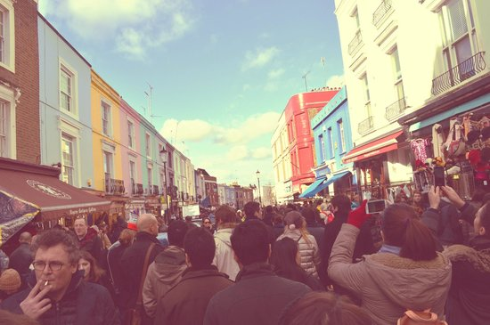 Portobello Road Market: Portobello Market full of people as usual