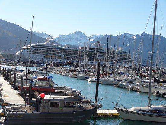 Harbor 360 Hotel: Blick auf Hafen und Berge vom Hotel