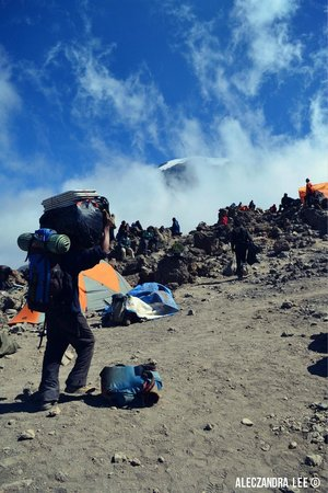 Kilimandscharo-Massiv (Kilimanjaro): Porter on Barafu Camp