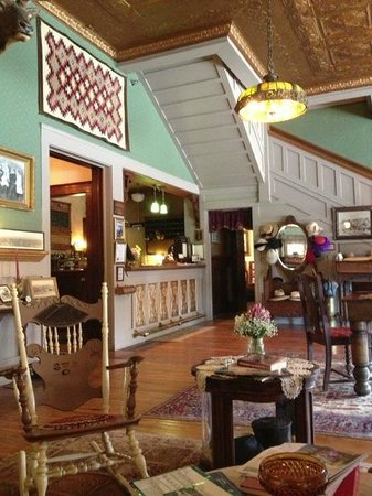 The Historic Occidental Hotel & Saloon and The Virginian Restaurant : The lobby - lots of historical information, photos, and furnishings.