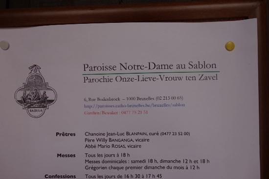 Notre Dame du Sablon : signage