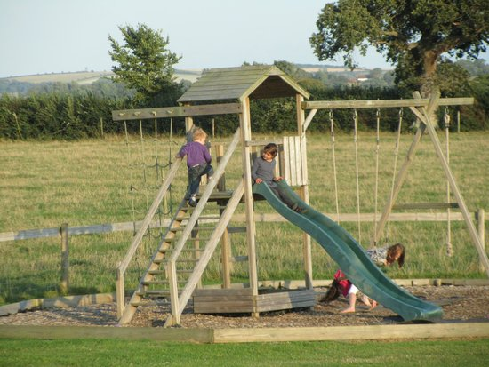 Caalm Camp: play area outside the yurts