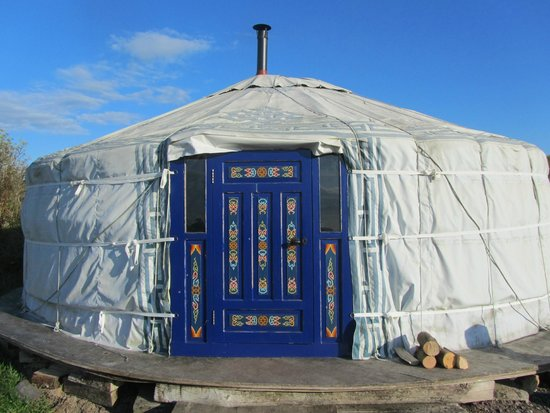 Caalm Camp: front of Snowdrop yurt where we stayed