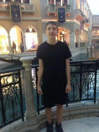 The Grand Canal Shoppes at The Venetian: Happy Teen in front of Grand Canal