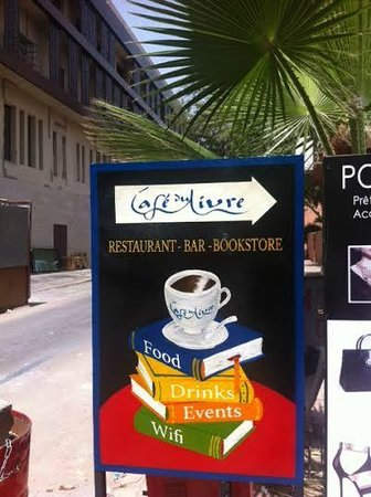 Cafe du Livre: Sign outside.