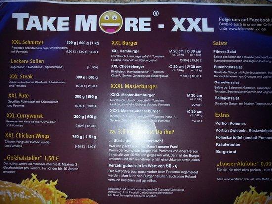 Take more XXL: le menu
