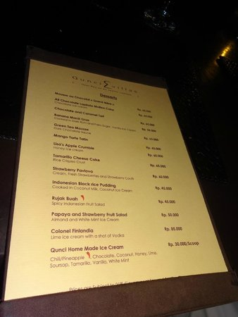 Qunci Villas Hotel: Carte des desserts