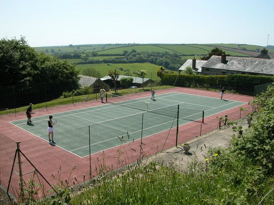 Hideaway Huts at Treworgey: Our tennis court