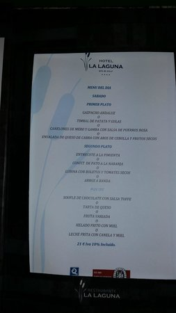 Hotel La Laguna Spa & Golf: Menu