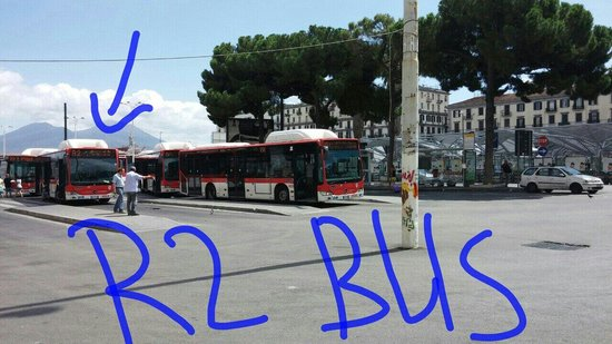 Hostel & Hotel Bella Capri: Take R2 bus from centre of square to hostel. From Napoli Centrale walk through street opposite N