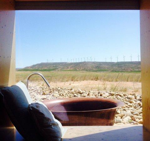 Hotel Aire de Bardenas: Vue du lit le matin ! Magique que du bonheur !!!
