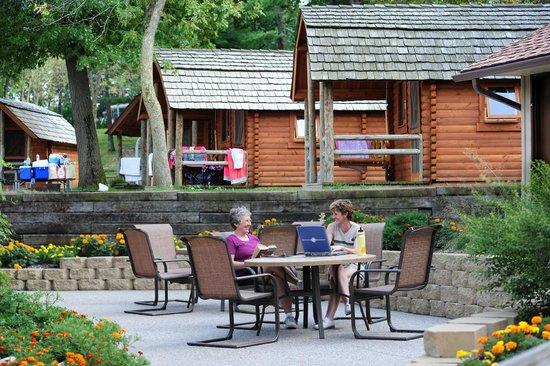 Wisconsin Dells KOA: Primitive Camping Cabins. Includes sleeping mattresses, heat, A/C & electricity.
