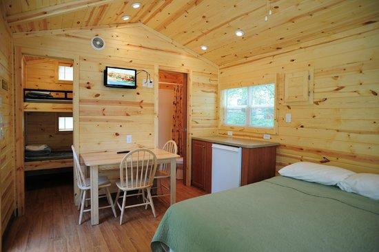 Wisconsin Dells KOA: Inside of a Deluxe Studio cabin. Sleeps up to 4 people.