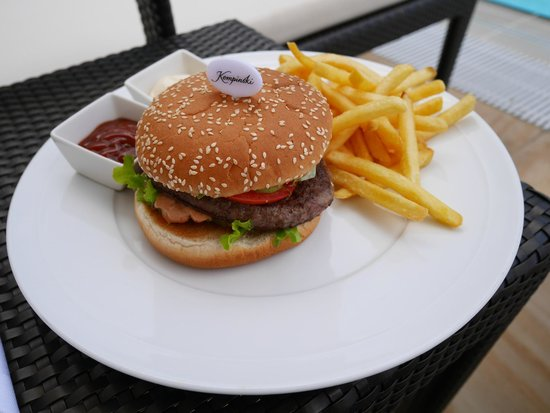 Kempinski Hotel Adriatic Istria Croatia: burger with hand cut fried, egg, bacon and salad side(?)