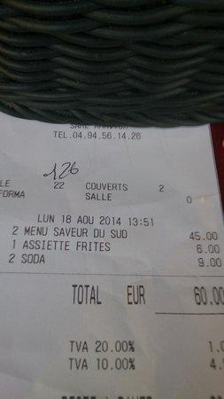 AU VIEUX GASSIN : 6 euros les frites congeles 9 euros 2 canettes de coca