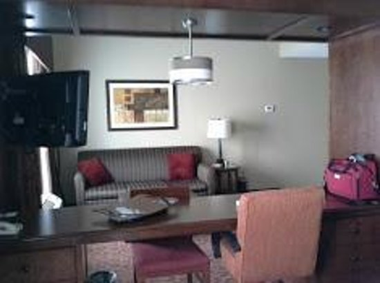 Hampton Inn Brockport: Couch, desk, chairs, TV above...