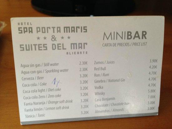 Hotel Spa Porta Maris & Suites del Mar: Minibar menu