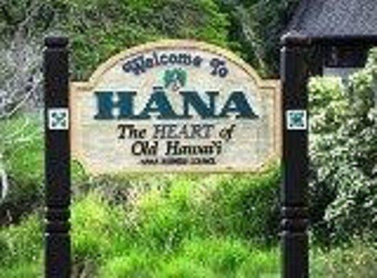 Bon Hana Maui Botanical Gardens: Welcome Sign To Hana