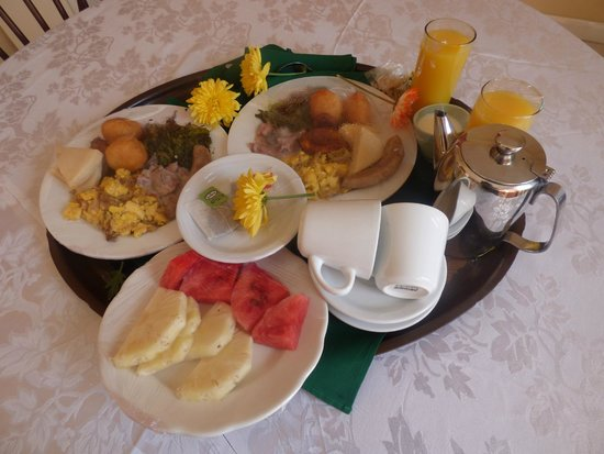 Mandeville Hotel: traditional Jamaican breakfast, room service style