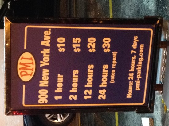 Renaissance Washington, DC Downtown Hotel: Prices from parking Lot across the street.