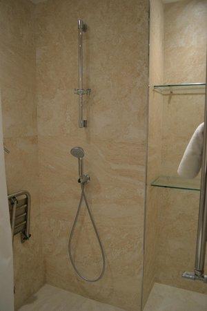 Catalonia Square: Bathroom shower with handheld and rain showerheads