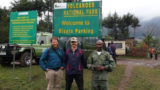 Volcanoes National Park: Parking. . Starting point for trekking to ngeze lake. ..