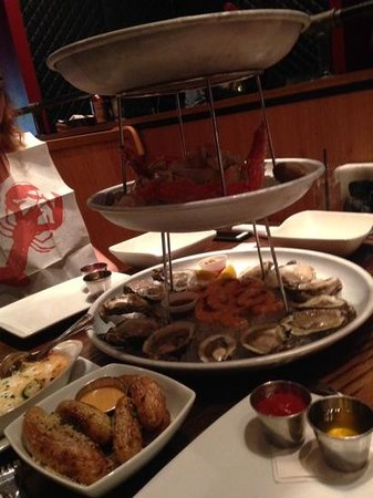 The Lobster Trap : The three level seafood tower.