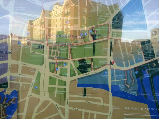 Salem Waterfront Hotel & Suites: a local map (with the hotel reflected in it)