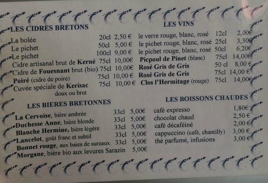 Menu at La Gourmandine
