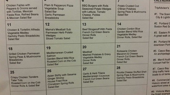 Homewood Suites by Hilton Portland: Daily Menu from August 2014 Monday - Thursday