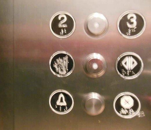 """Clarion Hotel Anaheim Resort: Worn out """"1"""" elevator button"""