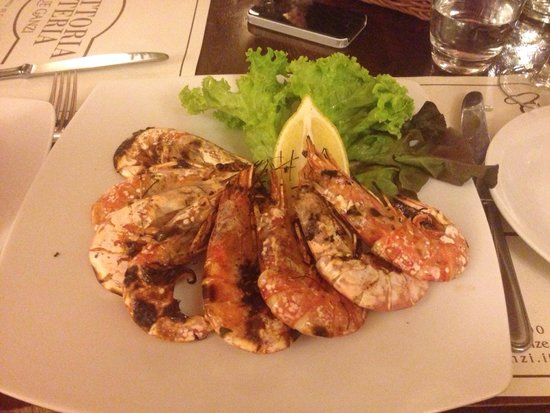 Trattoria Osteria Da Que' Ganzi : Second course - bbq large shrimp