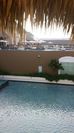 Hard Rock Hotel & Casino Punta Cana: Scene leaving lobby above spa.