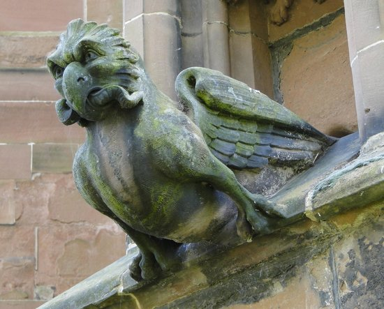 Lichfield Cathedral: Gargoyle with prey