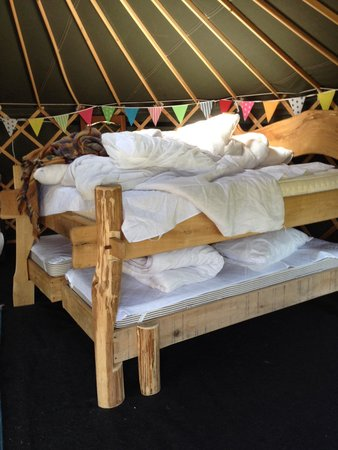 Bivouac at Druid's Temple: Double bed with two single beds underneath which pulled out when in use