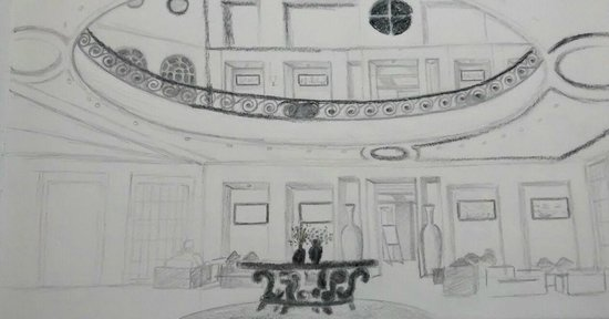 Evershine Keys Prima Resort: Artistic View of Spacious Lobby - Sketched by My Wife :)