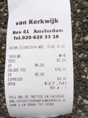 Van Kerkwijk: Scontrino 2 insalate con salmone acqua e 2 caffè