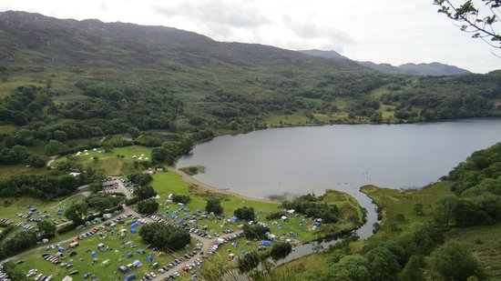 Llyn Gwynant Campsite: View of the camp from one of our walks (halfway up the previous picture!)