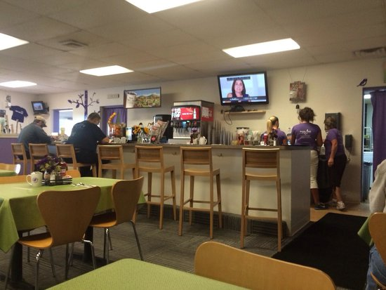 Purple Finch Cafe: Counter and staff