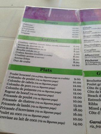La Case a Glaces : menu