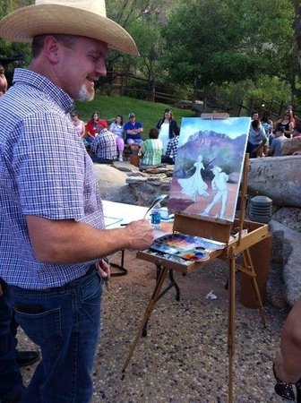 TEXAS Outdoor Musical: Randy Friemel, Palo Duro Plein Artist, painting a demo at TEXAS!